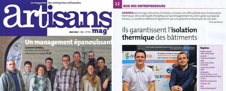 Artisan Mag, Mai 2013 : Archenergie