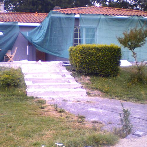 Maison Cudos (33) pendant travaux isolation extérieure
