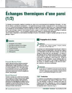 Echanges thermiques d'une paroi Archenergie Le Moniteur
