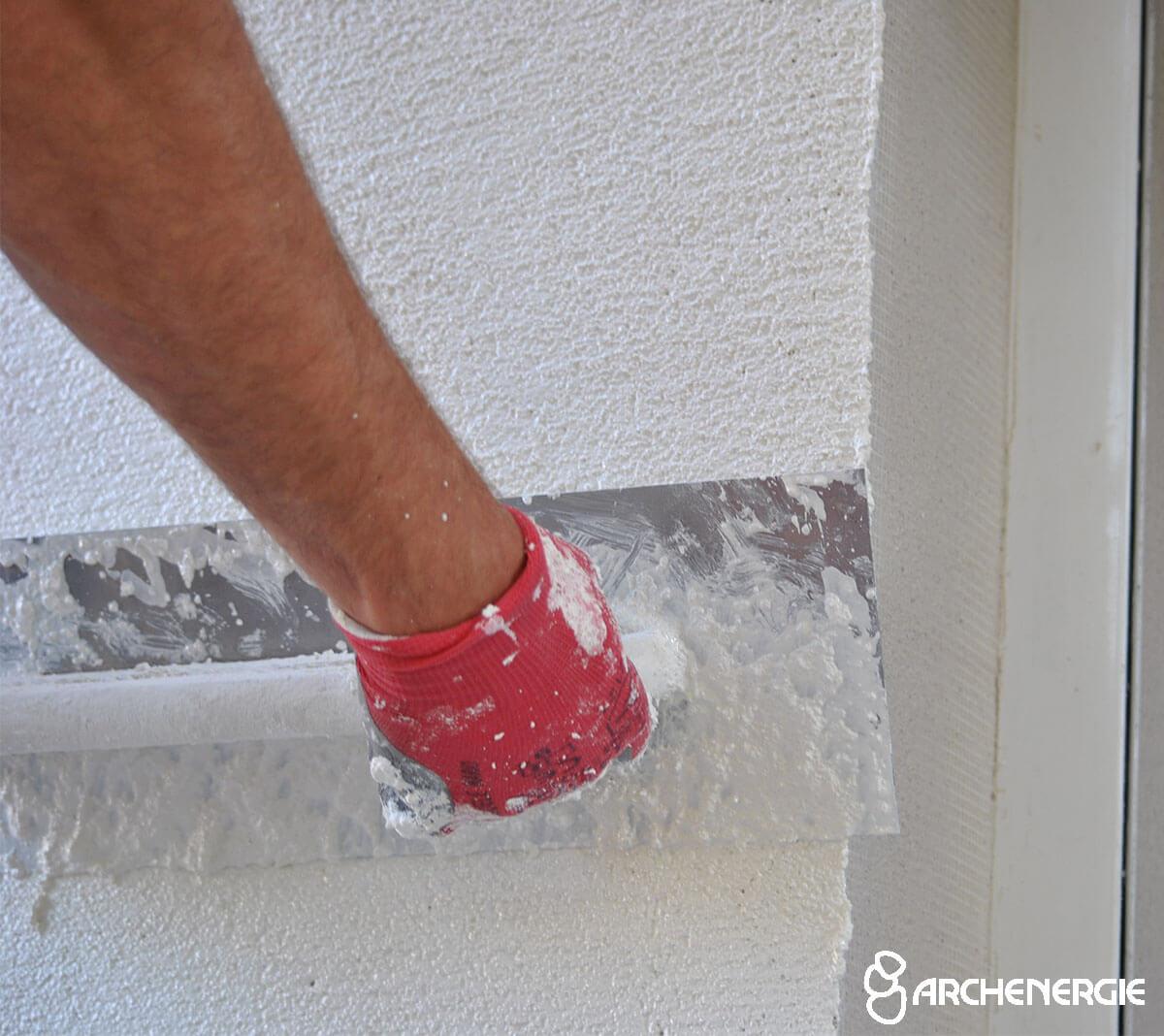 isolation thermique murs extérieur finition enduit mince taloché