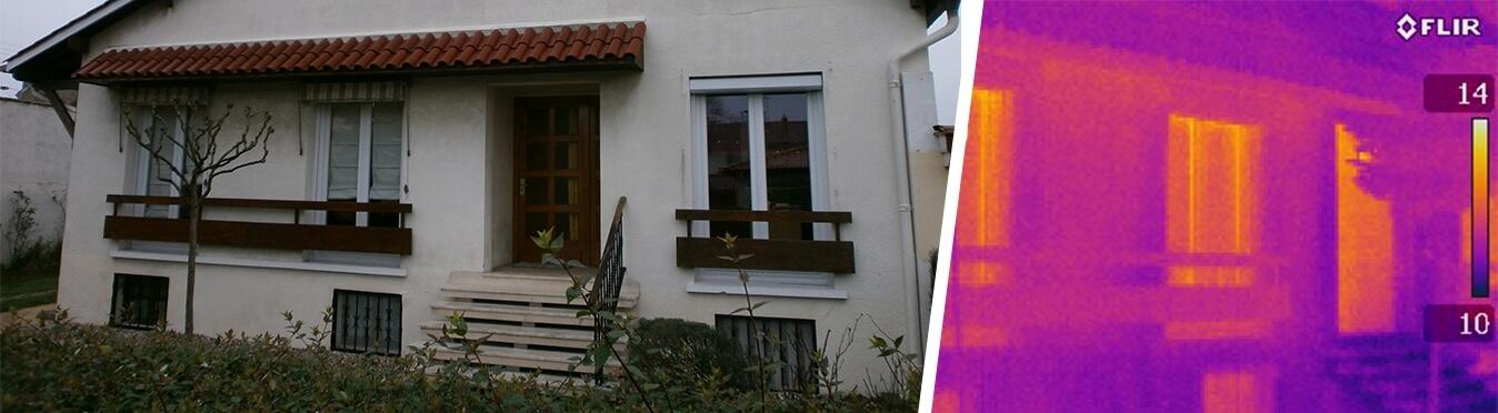 Rénovation énergétique performante dans une maison des années 70 caméra thermique
