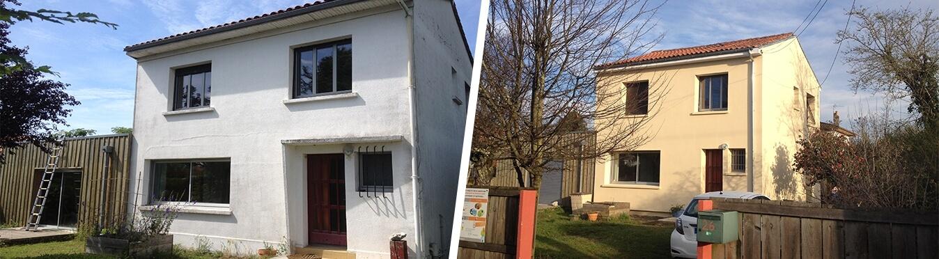 Rénovation thermique d'une maison à Pessac - avant et après travaux - Archenergie