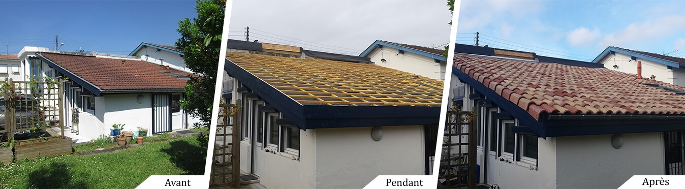 Sarking et isolation d'une toiture terrasse à Pessac - avant pendant et après travaux