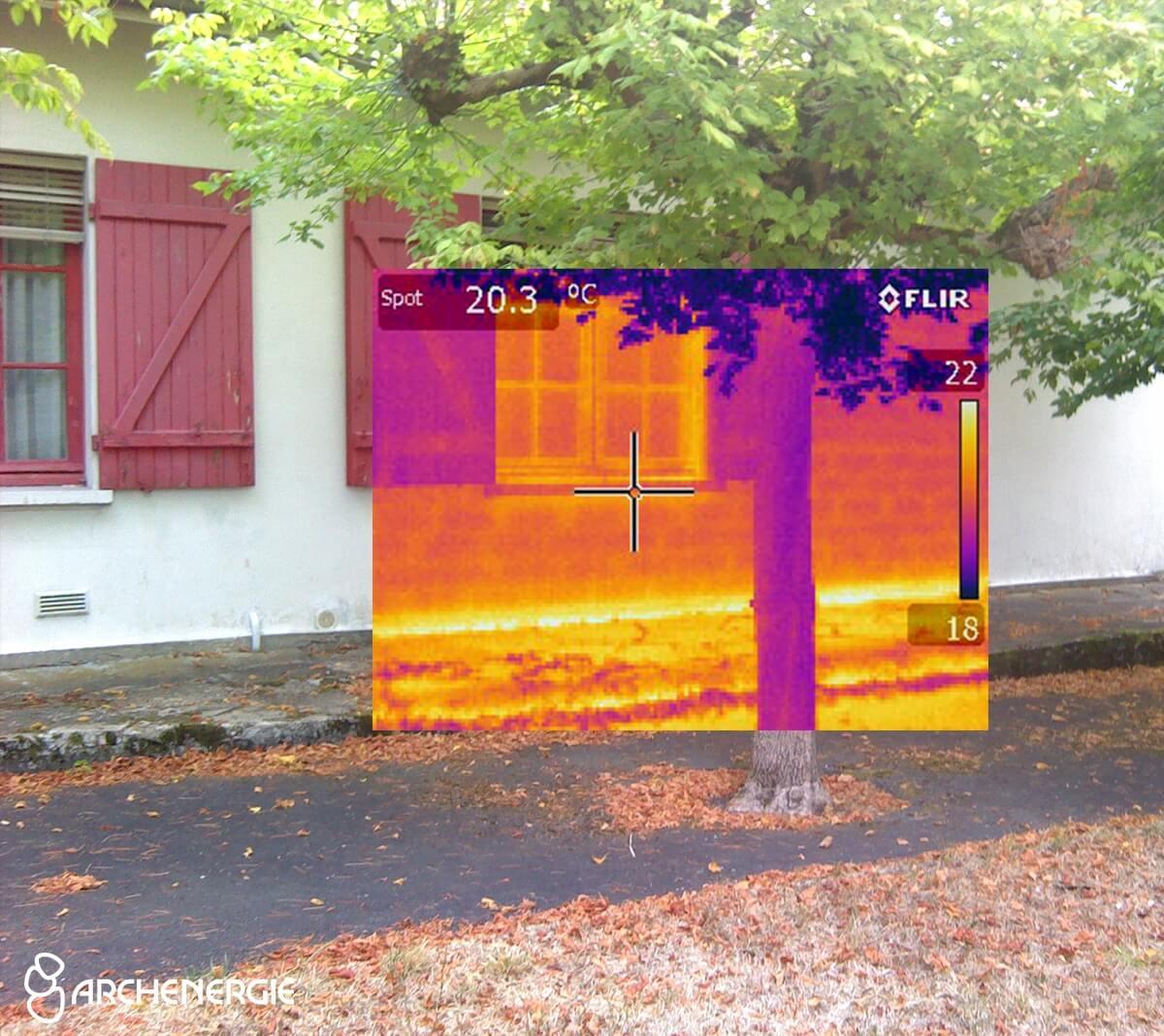 Maison à Gradignan (33) avant rénovation thermique - caméra thermique
