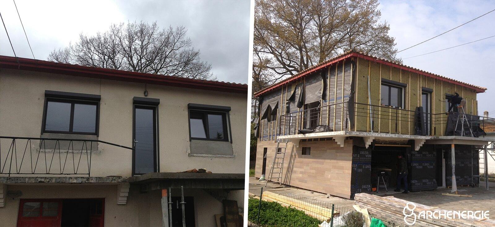 maison ares bassin d'Arcachon gironde 33 - travaux d'isolation extérieure ITE