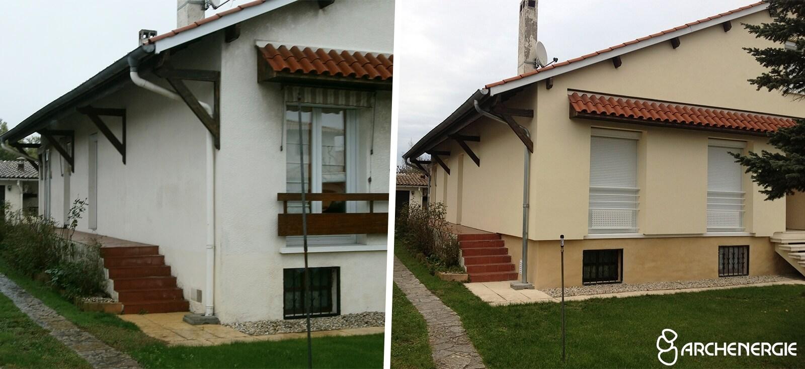 maison bordeaux bastide gironde 33 - avant/ après travaux ITE isolation par l'extérieur