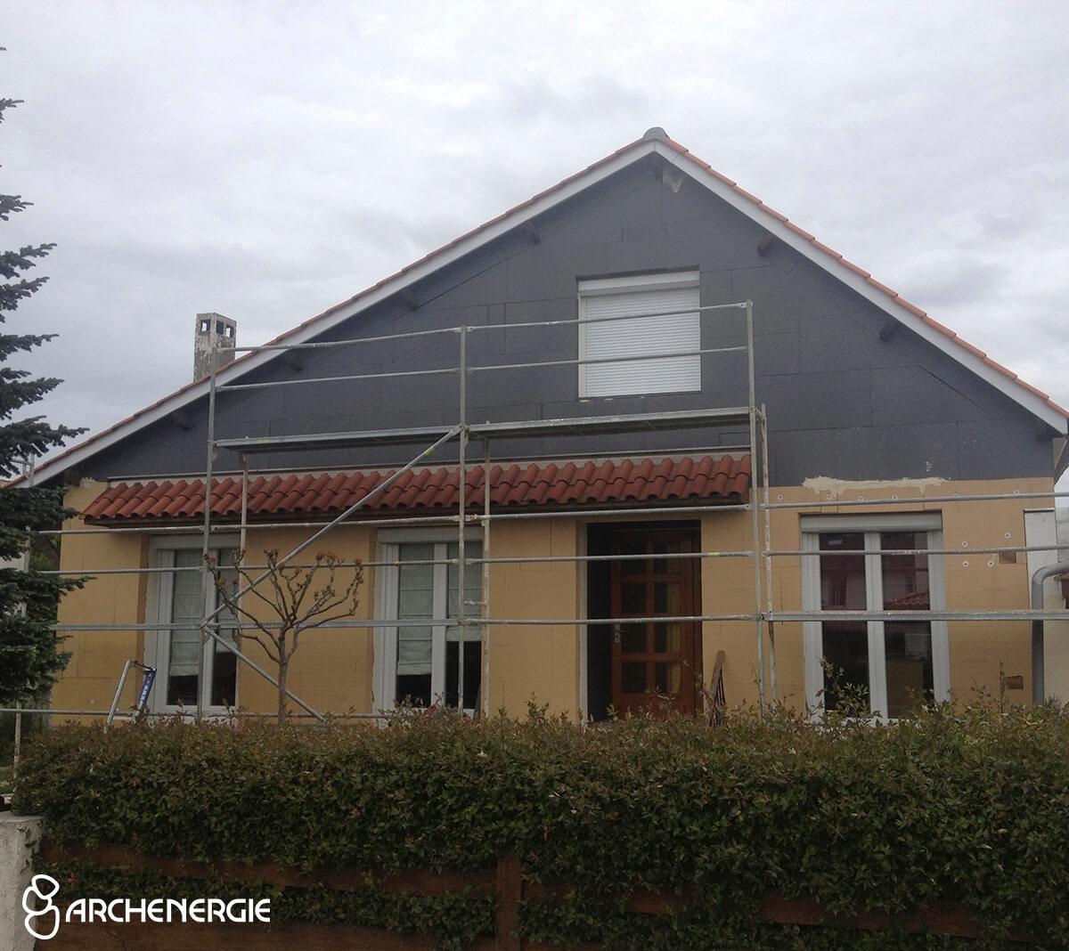 maison bordeaux bastide gironde 33 pendant les travaux d'isolation thermique extérieure