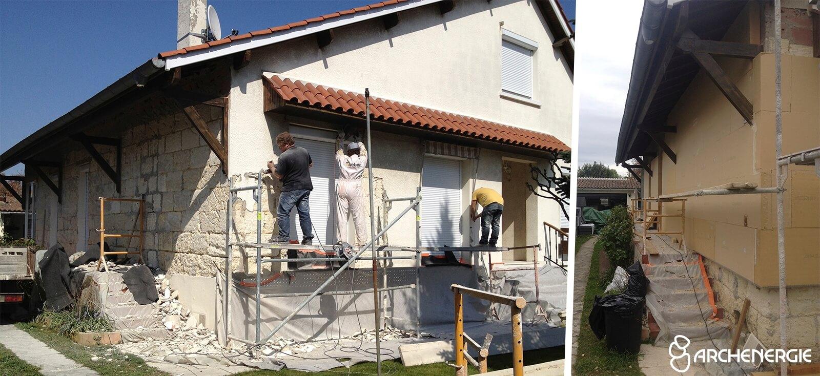 maison bordeaux bastide gironde 33 - pendant travaux ITE isolation par l'extérieur
