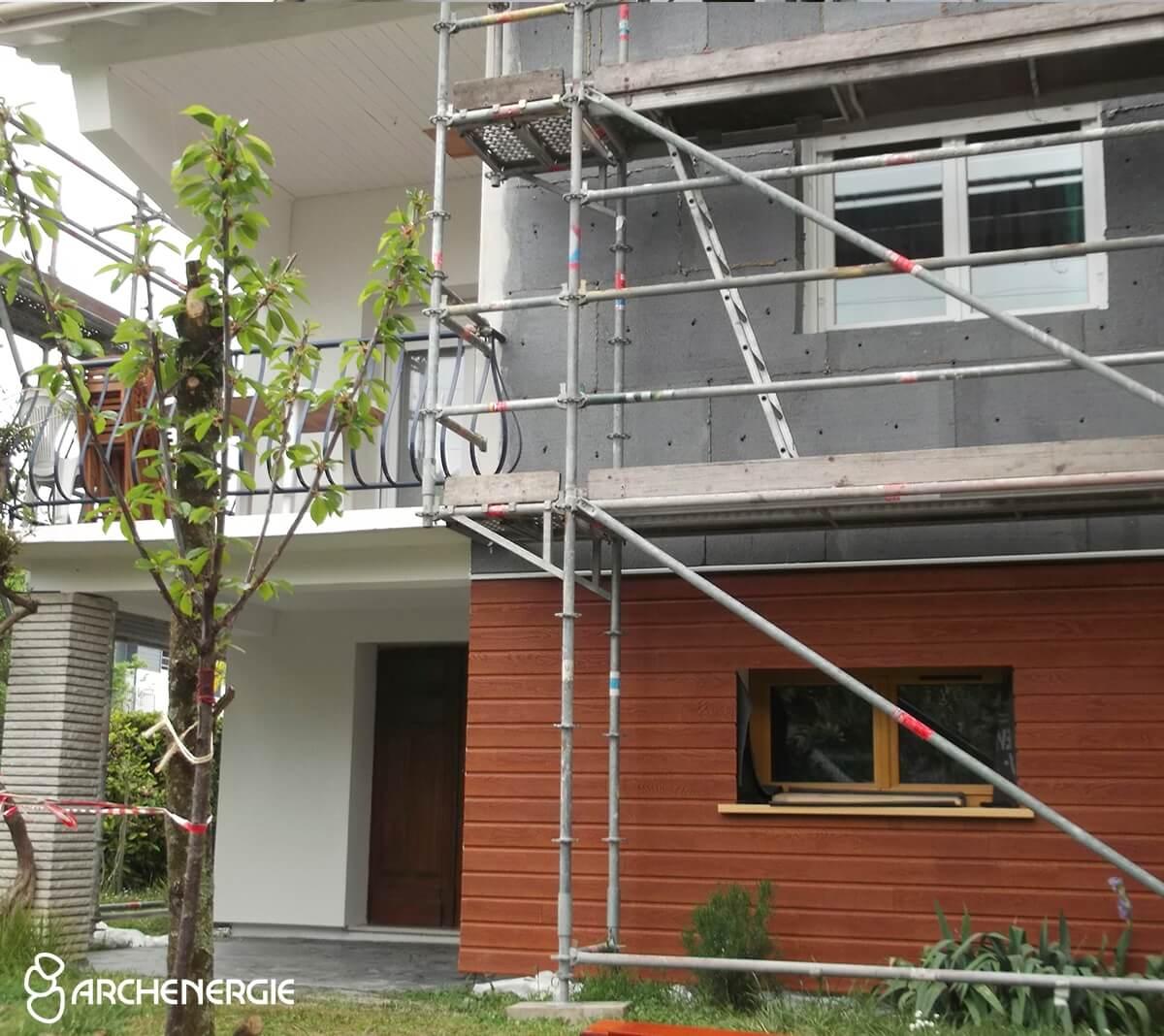 maison talence gironde 33 pendant les travaux d'isolation extérieure I.T.E