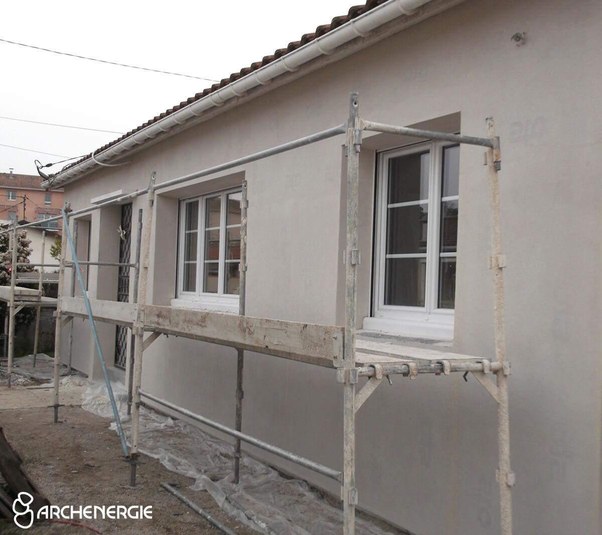 maison mérignac gironde 33 pendant travaux d'isolation par l'extérieur ITE