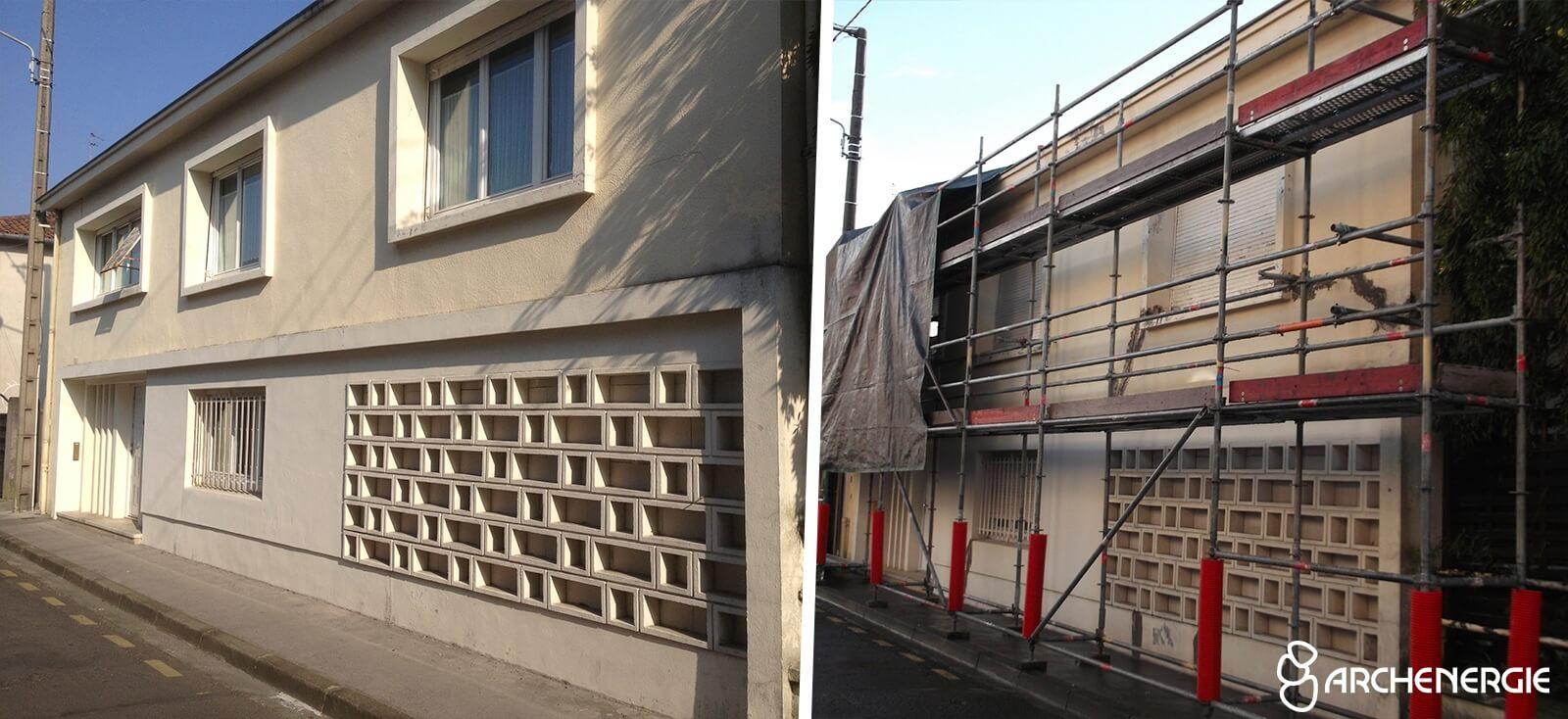 Isolation par l'extérieur à Bordeaux sur une maison d'architecte
