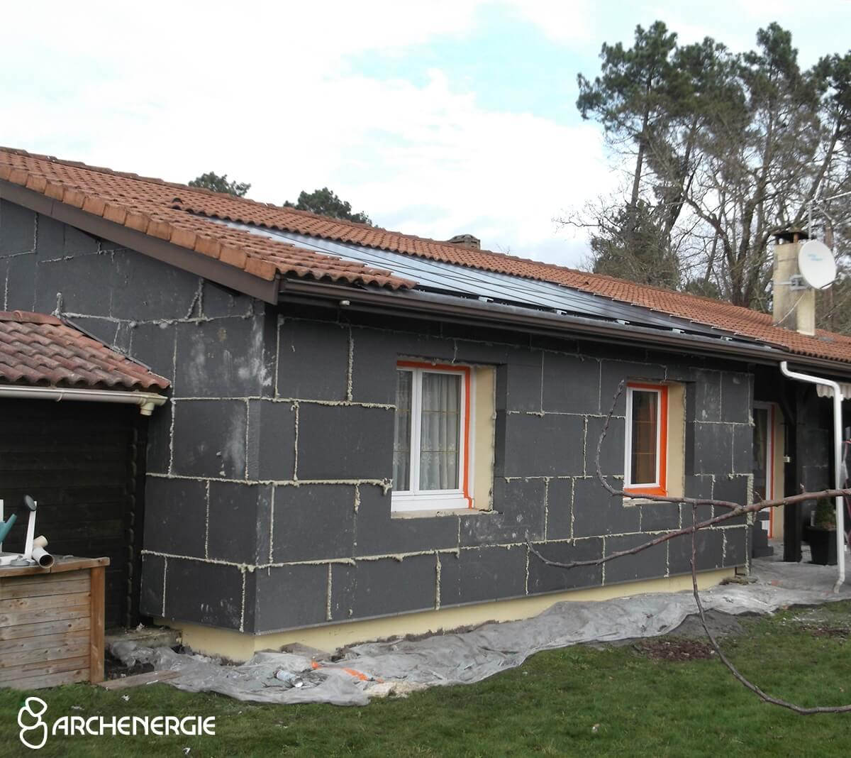 Maison Saint Médard en Jalles (33) pendant travaux isolation extérieure
