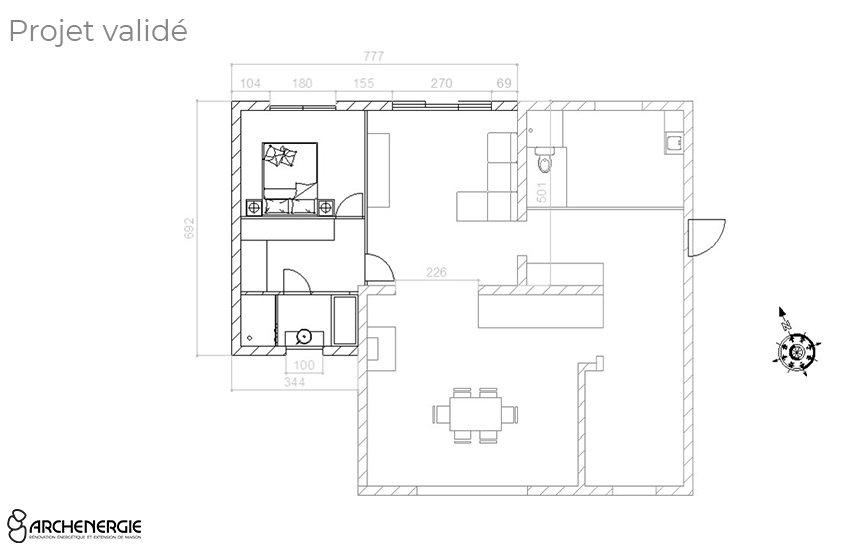Plan extension maison à Pessac - Archenergie