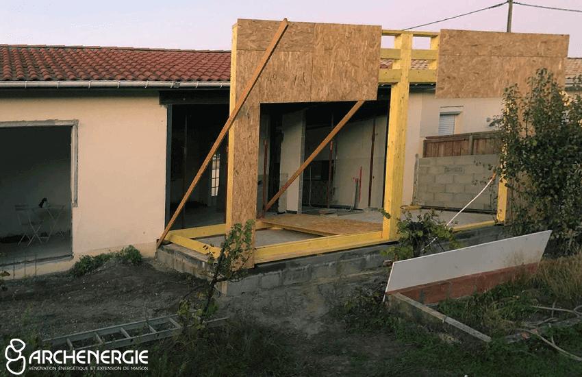 Elévation en ossature bois extension mérignac